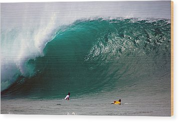 Pipeline Wave Hawaii Wood Print by Kevin Smith
