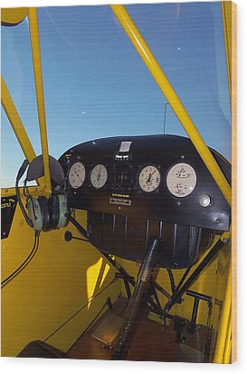 Piper Cub Dash Panel Wood Print