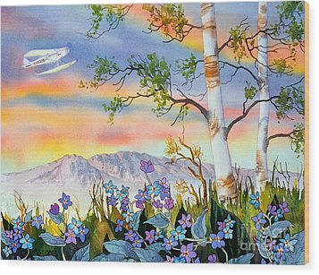 Wood Print featuring the painting Piper Cub Over Sleeping Lady by Teresa Ascone