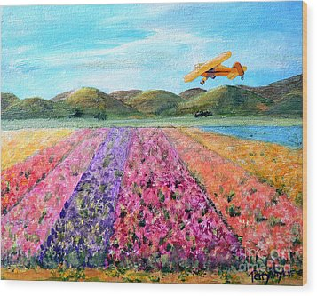 Piper Cub Sunday Wood Print by Terry Taylor