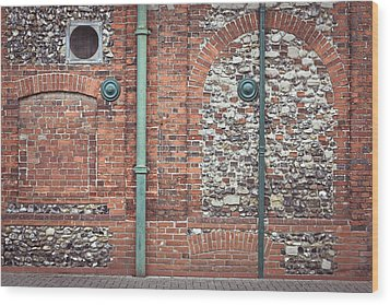 Pipes And Wall Wood Print by Tom Gowanlock