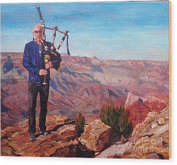 Piping At The Grand Canyon Wood Print