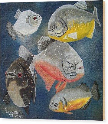 Pirahna  Fish Wood Print by Debbie LaFrance