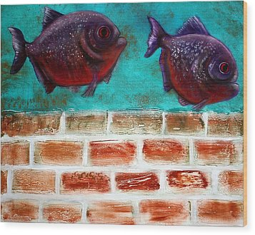 Piranha Wood Print by Laura Barbosa