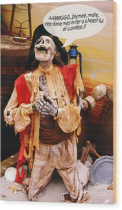 Pirate For Halloween Wood Print by Gary Brandes
