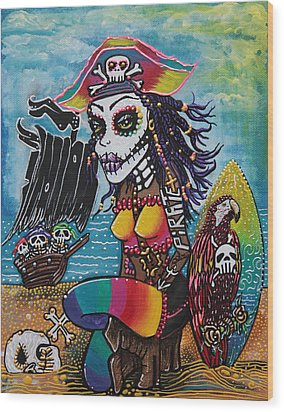 Pirate Girl - Surfs Up Wood Print by Laura Barbosa