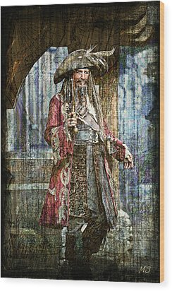 Pirate Keith Richards - Steampunk Wood Print by Absinthe Art By Michelle LeAnn Scott