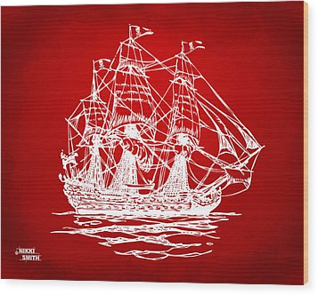 Pirate Ship Artwork - Red Wood Print by Nikki Marie Smith