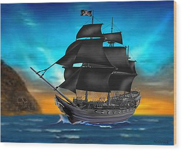 Pirate Ship At Sunset Wood Print by Glenn Holbrook