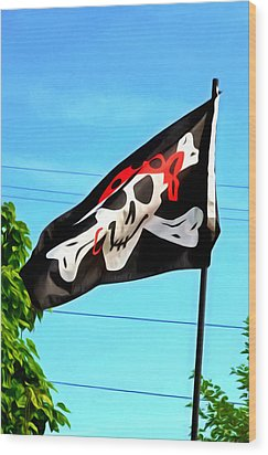 Pirate Ship Flag Of The Skull And Crossbones Wood Print by Lanjee Chee