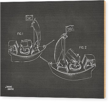 Pirate Ship Patent Artwork - Gray Wood Print by Nikki Marie Smith