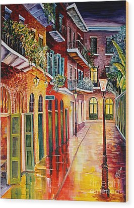 Pirates Alley By Night Wood Print by Diane Millsap