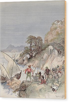 Pirates From The Barbary Coast Capturin Gslaves On The Mediterranean Coast Wood Print by Albert Robida