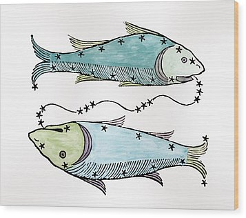 Pisces An Illustration Wood Print by Italian School