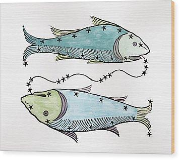 Pisces An Illustration Wood Print by Italian School
