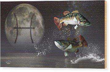 Pisces Zodiac Symbol Wood Print by Daniel Eskridge