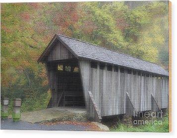 Pisgah Covered Bridge Wood Print by Karol Livote