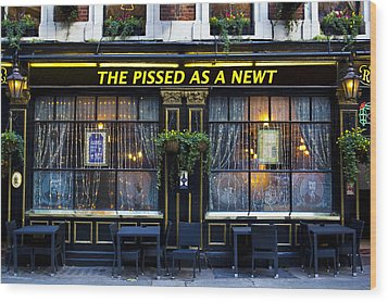 Pissed As A Newt Pub  Wood Print