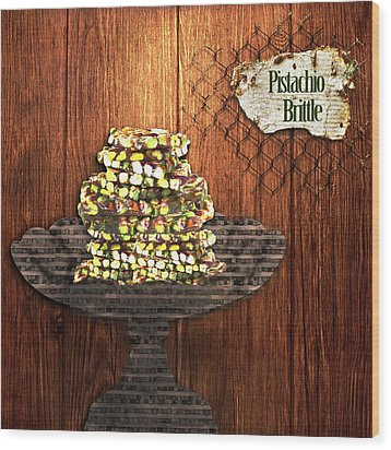 Wood Print featuring the photograph Pistachio Brittle by Paula Ayers
