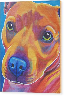 Pit Bull - Boo Wood Print by Alicia VanNoy Call