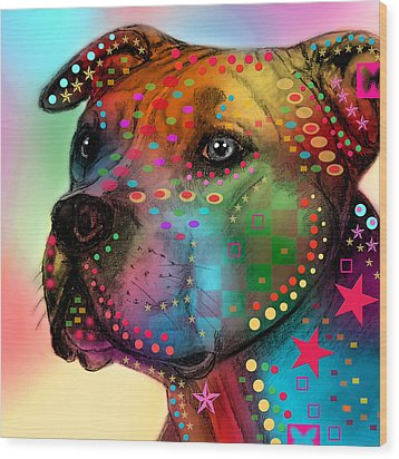 Pit Bull Wood Print by Mark Ashkenazi
