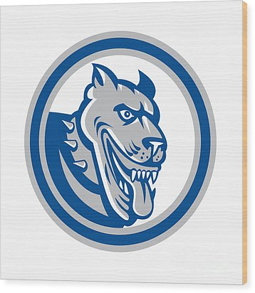 Pitbull Dog Mongrel Head Circle Wood Print by Aloysius Patrimonio