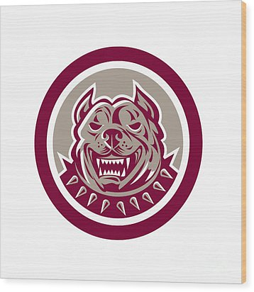 Pitbull Dog Mongrel Head Retro Circle Wood Print by Aloysius Patrimonio