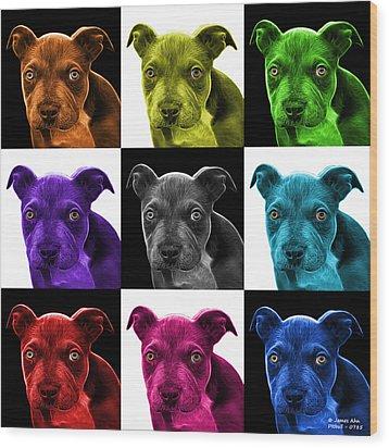 Pitbull Puppy Pop Art - 7085 V1 - M Wood Print by James Ahn