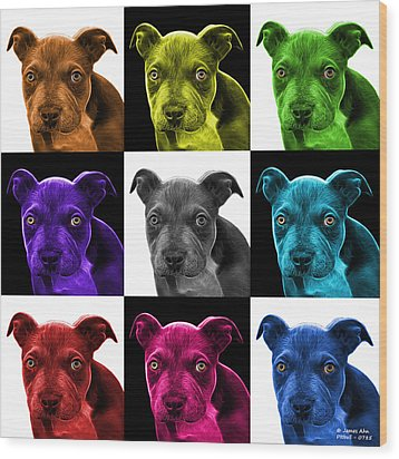 Pitbull Puppy Pop Art - 7085 V2 - M Wood Print by James Ahn