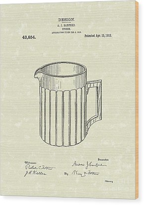 Pitcher 1913 Patent Art Wood Print by Prior Art Design
