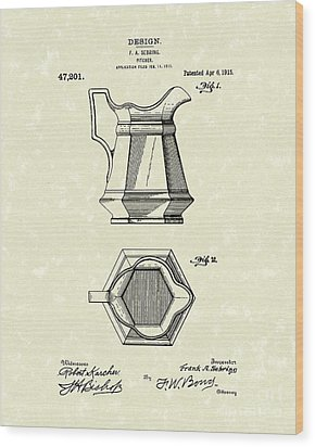 Pitcher 1915 Patent Art Wood Print by Prior Art Design