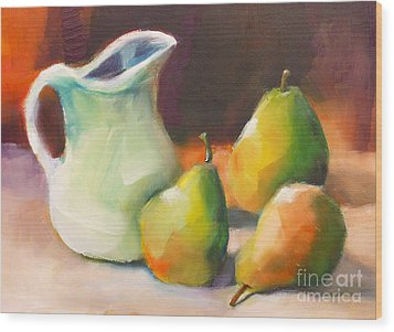 Wood Print featuring the painting Pitcher And Pears by Michelle Abrams