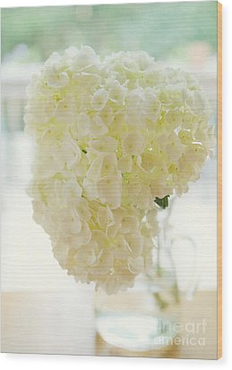Pitcher Of Hydrangeas Wood Print by Kay Pickens