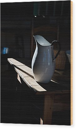 Pitcher On Table Wood Print