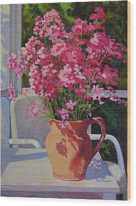 Pitcher With Phlox Wood Print by Keith Burgess