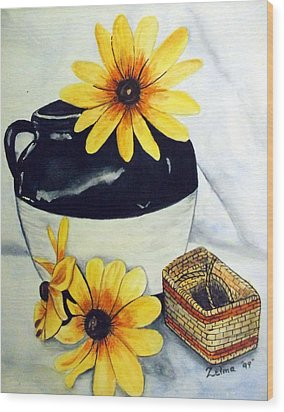 Pitcher With Yellow Flowers Wood Print by Zelma Hensel