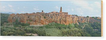 Wood Print featuring the photograph Pitigliano Panorama by Alan Socolik