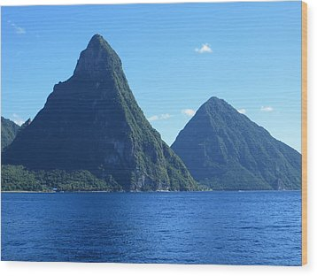 Wood Print featuring the photograph Pitons In St. Lucia by Jean Marie Maggi