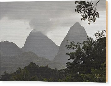 Pitons St Lucia Wood Print by J R Baldini Master Photographer