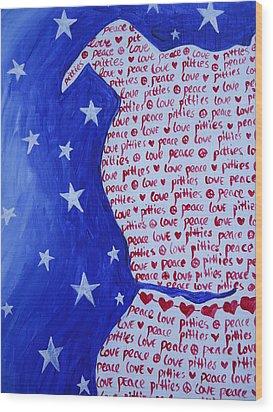 Pittie Love Wood Print by Leslie Manley