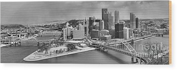Pittsburgh Black And White Winter Panorama Wood Print by Adam Jewell