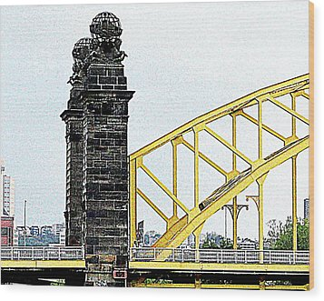 Wood Print featuring the photograph 16th Street Bridge, Pittsburgh Pa by Mary Beth Landis