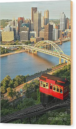 Pittsburgh Duquesne Incline Wood Print by Adam Jewell