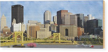Pittsburgh From Pnc Park Wood Print by David Head