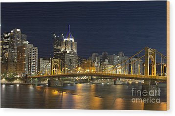 Pittsburgh Lights Wood Print by Mike Vosburg