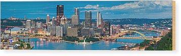 Pittsburgh New Fountain Wood Print by Emmanuel Panagiotakis