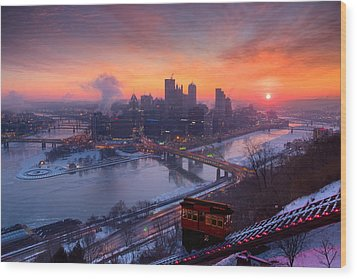 Pittsburgh Skyline Winter 2 Wood Print by Emmanuel Panagiotakis
