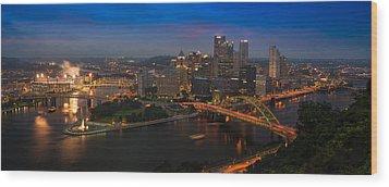 Pittsburgh Pa Wood Print by Steve Gadomski
