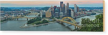 Pittsburgh Panorama At Dusk Wood Print by Adam Jewell