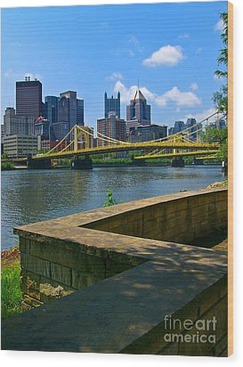 Pittsburgh Pennsylvania Skyline And Bridges As Seen From The North Shore Wood Print by Amy Cicconi
